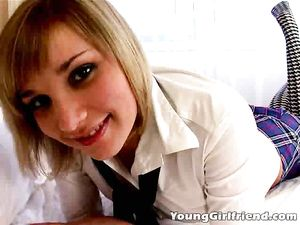Cute Blonde Schoolgirl Gives A Wonderful Blowjob