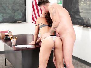 Teacher Fucks His Petite Teen Student And Cums