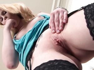 Small Tits Solo Blonde Teen Fucking Her Big Dildos