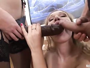 Corset Girl Double Penetrated By A Guy And A Strapon