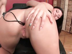 Bent Over Teen With Anal Beads In Her Asshole
