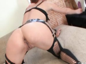 Leather Lingerie Girl Gapes Her Asshole With A Dildo