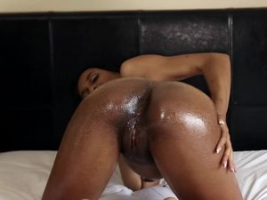 Horny Oiled Black Girl Fucked By A Big White Dick