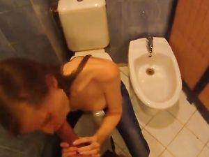 18 Year Old Gives Head In A Public Bathroom