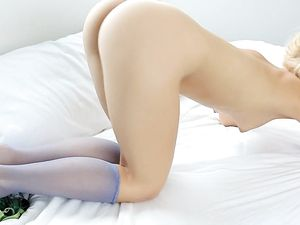 Totally Cute Chick In Knees Highs Masturbates Solo