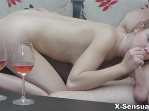 After Wine Hardcore Sex With A Cute Couple