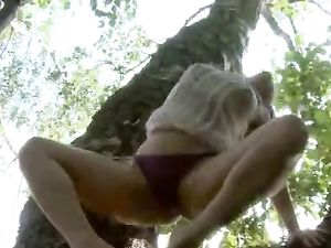 Curly Hair Forest Nymph Masturbates In A Tree