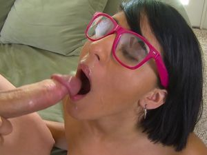 Fucking A Naughty Nerd Girl And Cumming On Her Glasses