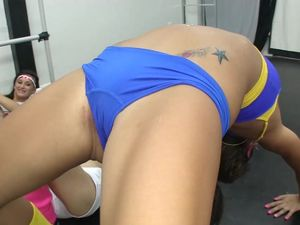 Four Sporty Babes Take On A Big Cock Together